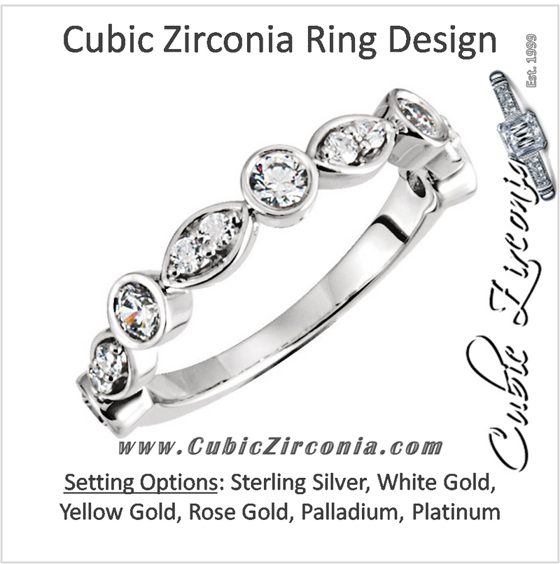 Cubic Zirconia Anniversary Ring Band, Style 121-823 (0.56 TCW Round Bezel Scallop)