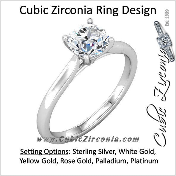Cubic Zirconia Engagement Ring- The Cassandra (1 Carat Round Solitaire)