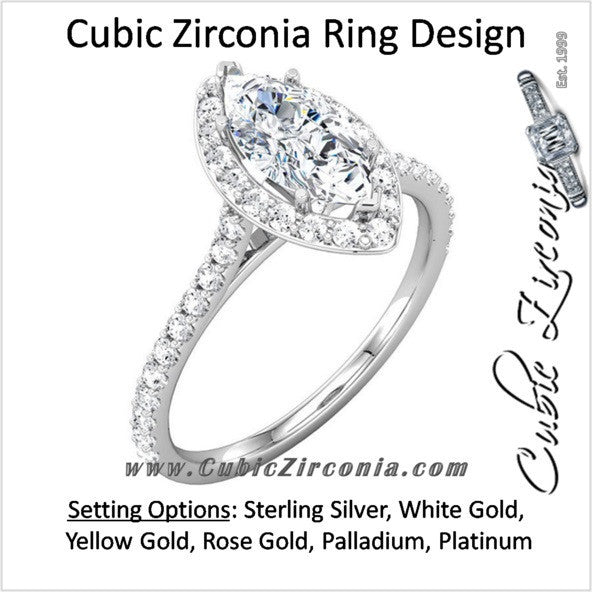 Cubic Zirconia Engagement Ring- The Cheresa (Marquise-Cut Halo-Style with Twin Bezel-Set Accents & Pave Band)