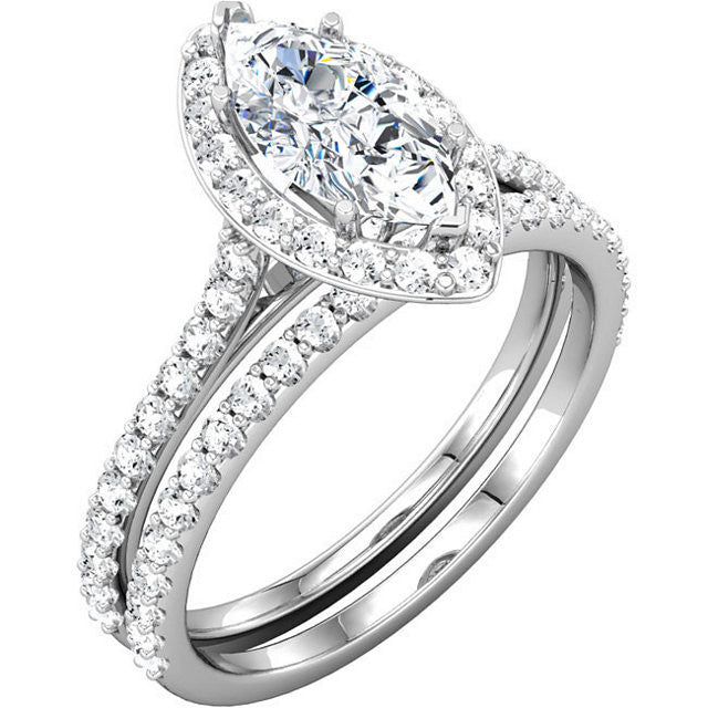 Cubic Zirconia Engagement Ring- The Cheresa (Marquise-Cut Halo-Style with Twin Bezel-Set Peekaboos & Pave Band)