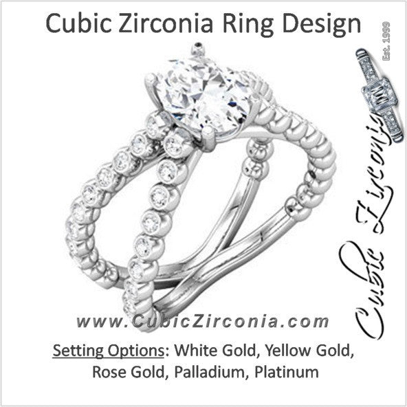 Cubic Zirconia Engagement Ring- The Katelyn (1.94 TCW Oval Cut with Ultra-wide Split Band)