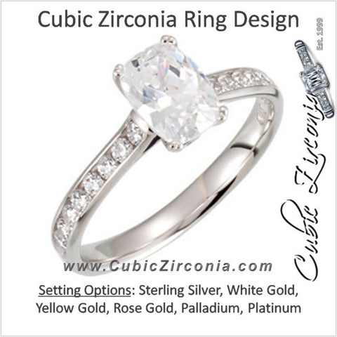 Cubic Zirconia Engagement Ring- The Akiko (2.11 TCW Oval Cut Cathedral with Peekaboo)