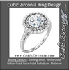 Cubic Zirconia Engagement Ring- The Darlene (1.5 Carat Round S-Pattern Halo-Style with Pave Band)