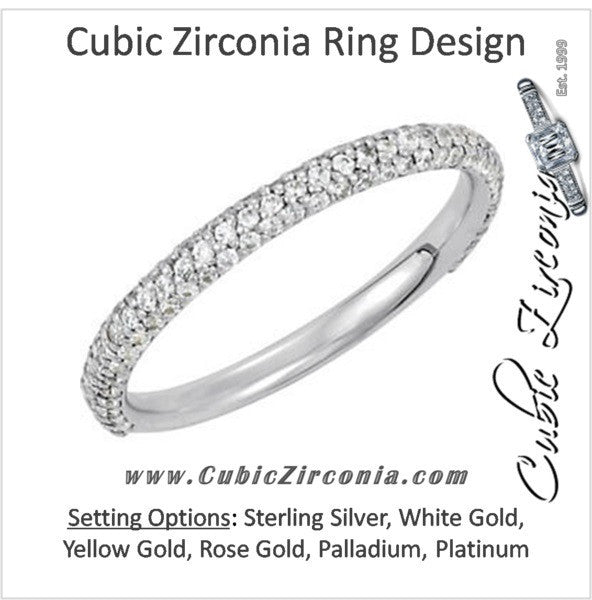 Cubic Zirconia Anniversary Ring Band, Style 04-20 (0.60 TCW Round Pave Band)