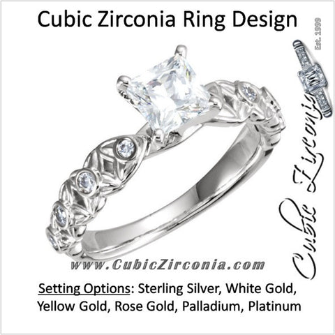 Cubic Zirconia Engagement Ring- The Laura (0.75-1.0 Carat Princess Cut Starfish-inspired Eternity Band)