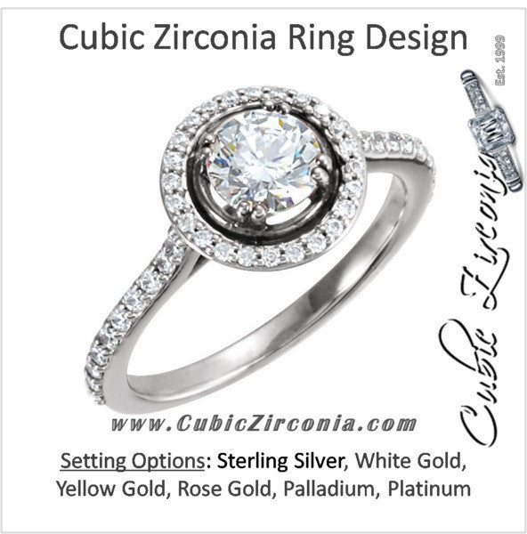 Cubic Zirconia Engagement Ring- The Lori (0.75 Carat Round Halo-Style with Pave Band)