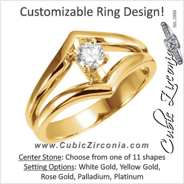Cubic Zirconia Engagement Ring- The Laurie (Customizable Wide Chevron Split-Band Solitaire)