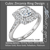 Cubic Zirconia Engagement Ring- The Linda (Round-Cut with Segmented Double-Halo and Etched Pave Band)
