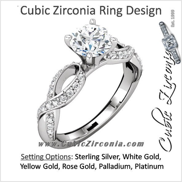 Cubic Zirconia Engagement Ring- The Aisha (Round with Ribboned Pave Band)