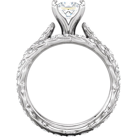 Cubic Zirconia Engagement Ring- The Kacey (1.11 Carat Butterfly-Inspired Customizable Center Setting)