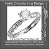 Cubic Zirconia Engagement Ring- The Emily (1 Carat Round Solitaire with Sculptural Eternity Band)