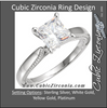 Cubic Zirconia Engagement Ring- The Ashley (0.5-1.5 Carat Princess Solitaire with Ribbed Metal)