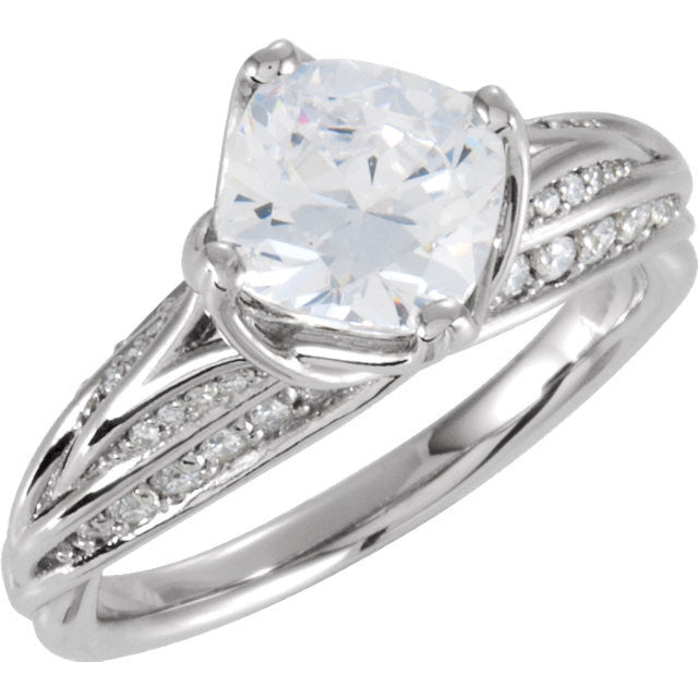 Cubic Zirconia Engagement Ring- The Lacey (2 Carat Princess-Cut Tri-Band with Pave)
