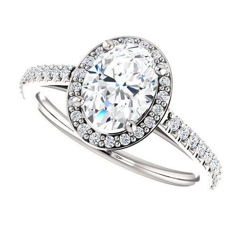 Cubic Zirconia Engagement Ring- The Monique (Customizable Oval Cut Cathedral-Halo with Thin Pave-Band)