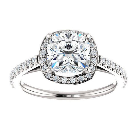 Cubic Zirconia Engagement Ring- The Monique (Customizable Cushion Cut Cathedral-Halo with Thin Pave-Band)