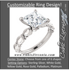 Cubic Zirconia Engagement Ring- The Vicki (Customizable Shell Sculpture Solitaire)