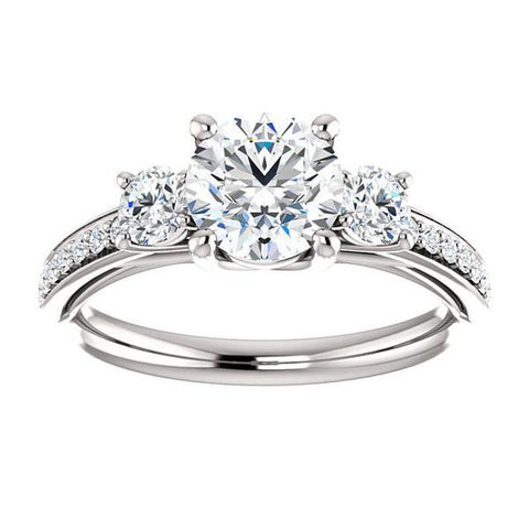Cubic Zirconia Engagement Ring- The Kristin (Customizable Round Cut 3-stone Design Enhanced with Pavé Band)