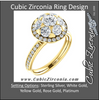 Cubic Zirconia Engagement Ring- The Janelle (Floral-Inspired Round Halo)