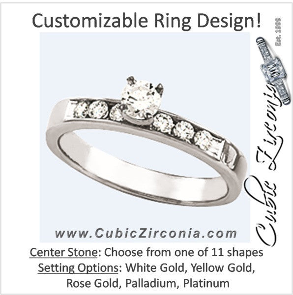 Cubic Zirconia Engagement Ring- The Debby (Customizable 7-stone with Round Channel Accents)