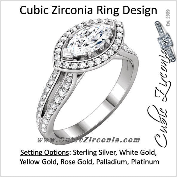 Cubic Zirconia Engagement Ring- The Brooke (0.75 Carat Customizable Halo-Style with Split Pave Band)
