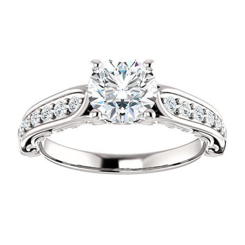 Cubic Zirconia Engagement Ring- The Martha (Customizable Round Cut Setting with Pavé Three-sided Band and Peekaboos)