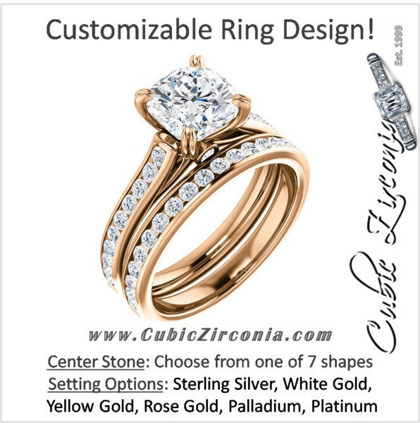 CZ Wedding Set, Style 04-64 feat The Tabitha Engagement Ring (Customizable Center with Round Channel)