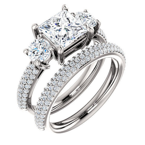 CZ Wedding Set, Style 05-24 feat The Nicole Engagement Ring (Customizable Three-Stone with Round Pave Accents)