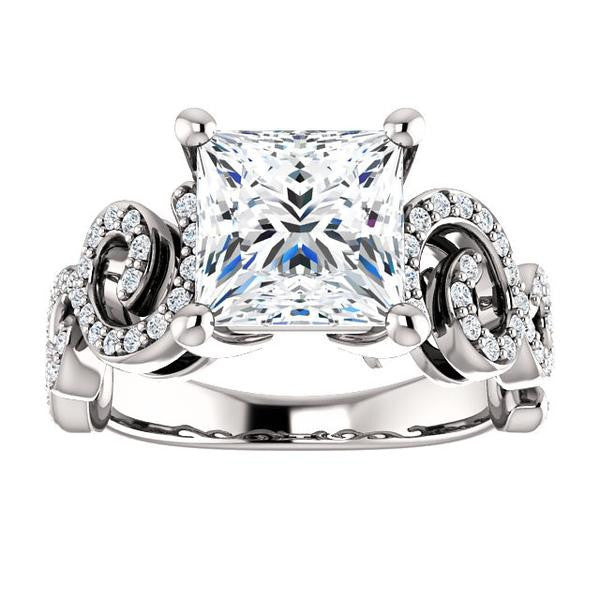 Cubic Zirconia Engagement Ring- The Carla (Customizable Princess Cut Split-Band Curves)