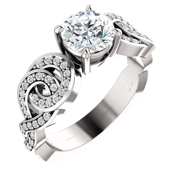 Cubic Zirconia Engagement Ring- The Myra (Customizable Round Cut Split-Band Knots)