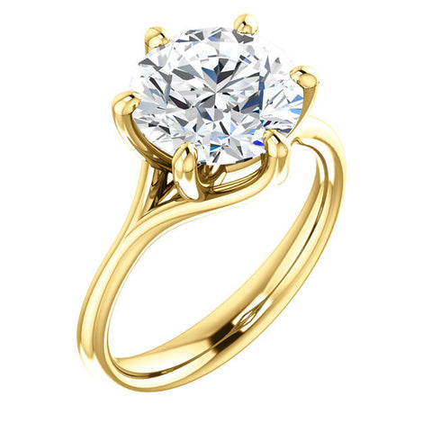 Cubic Zirconia Engagement Ring- The Marissa (Customizable 6-prong Solitaire)