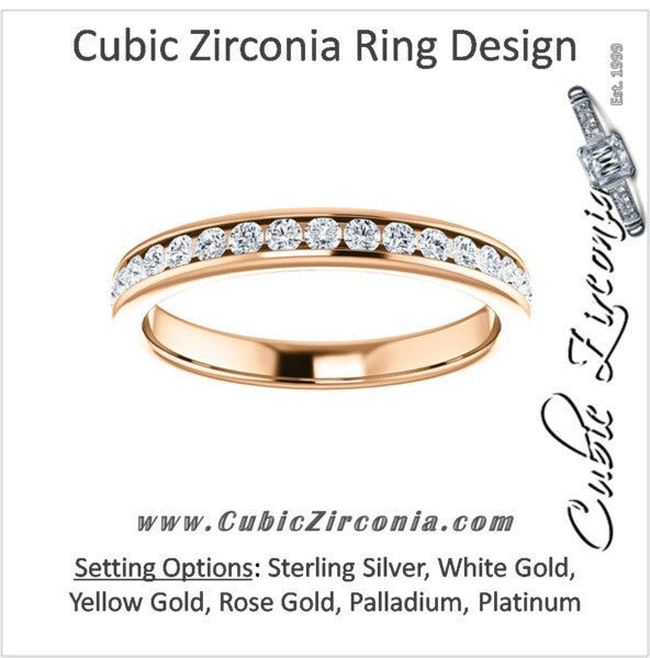 Cubic Zirconia Anniversary Ring Band, Style 04-60 (0.50 TCW Round Channel)
