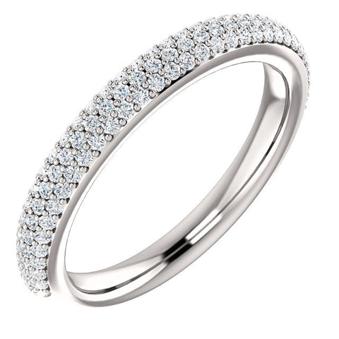 Cubic Zirconia Anniversary Ring Band, Style 05-20 (0.50 TCW Round Pave)