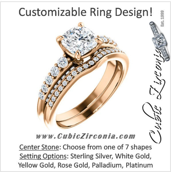 e3e5aaf98 CZ Wedding Set, Style 05-37 feat The Rachelle engagement ring (Customizable  Round Prong)