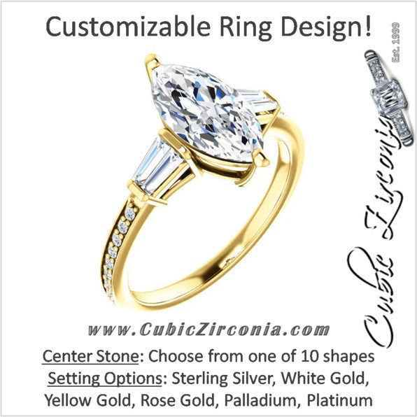 Cubic Zirconia Engagement Ring- The Elizabeth (Customizable Center with Baguette & Pave)