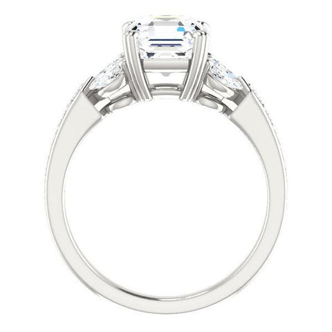 Cubic Zirconia Engagement Ring- The Rosalyn (Customizable Asscher Cut with Marquise Accent Butterflies and Round Channel)