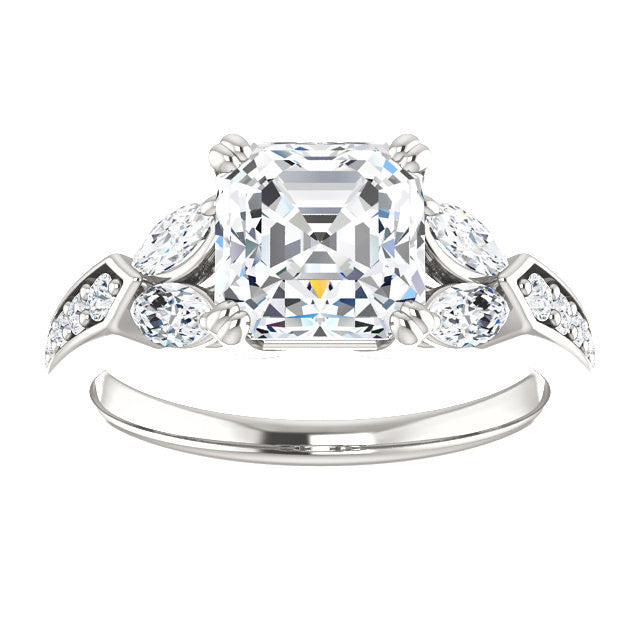 CZ Wedding Set, Style 038 feat The Rosalyn engagement ring (Customizable Round Channel)