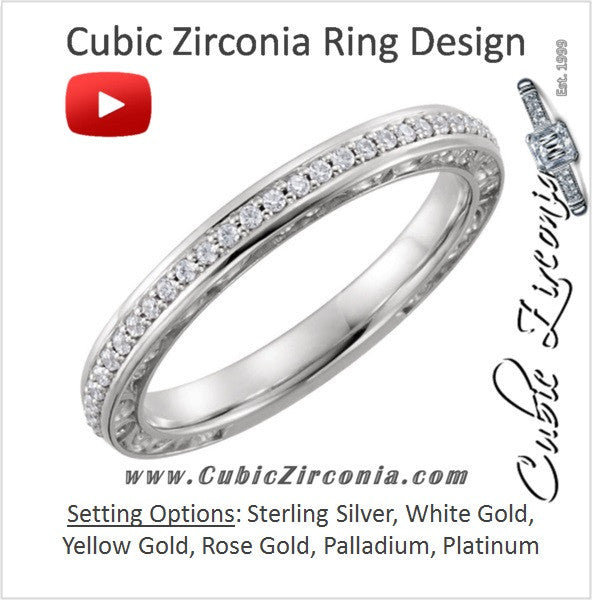 Cubic Zirconia Anniversary Ring Band, Style 03-86 (0.15 TCW Round Prong)