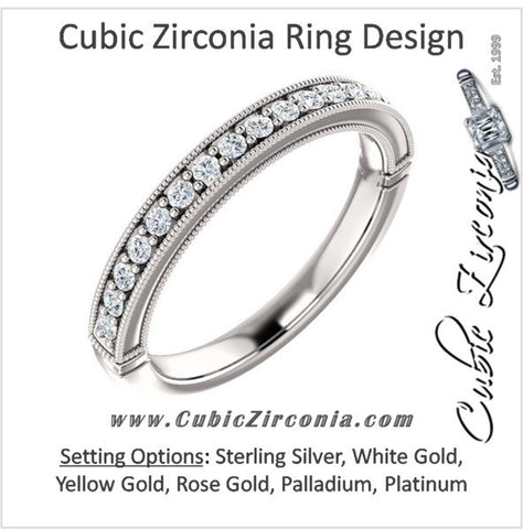 Cubic Zirconia Anniversary Ring Band, Style 04-46 (0.25 TCW Round Pave)