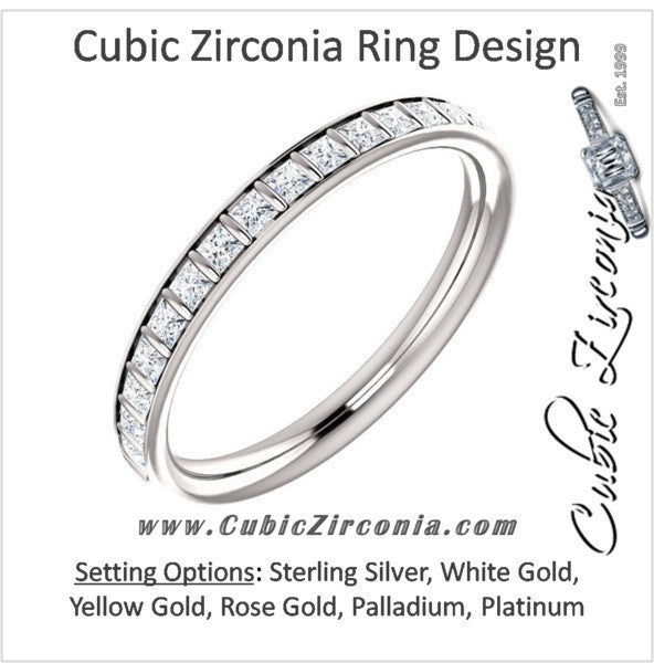 Cubic Zirconia Anniversary Ring Band, Style 04-26 (0.57 TCW Princess Channel Bar)