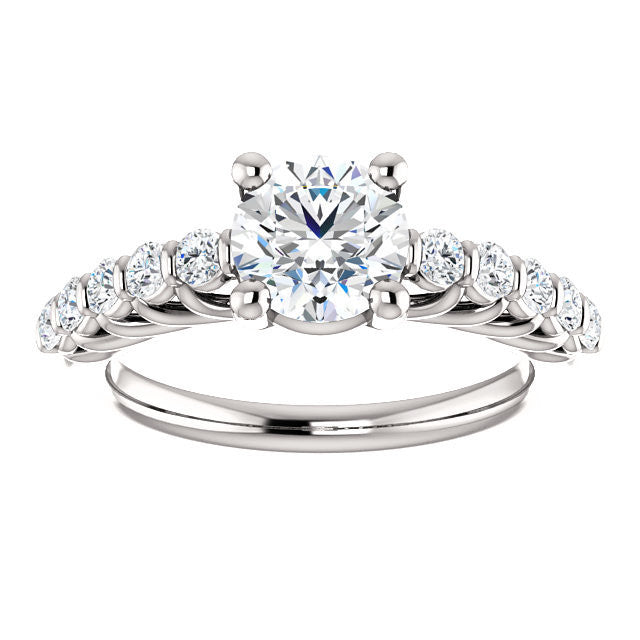 CZ Wedding Set feat Pamela engagement ring Round Prong Round Channel