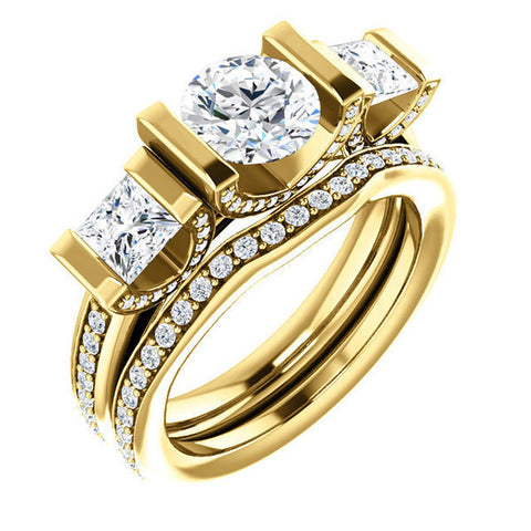 CZ Wedding Set, Style 04-24 feat The Katie engagement Ring (Customizable Bar Setting with Round Prong Accents)