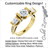 Cubic Zirconia Engagement Ring- The Katie (Customizable Bar Setting with Round Prong Accents)