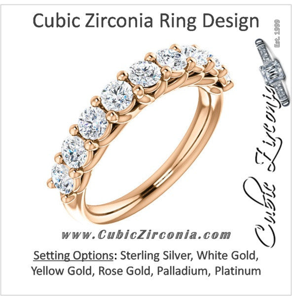 Cubic Zirconia Anniversary Ring Band, Style 05-33 (Customizable Round Prong)