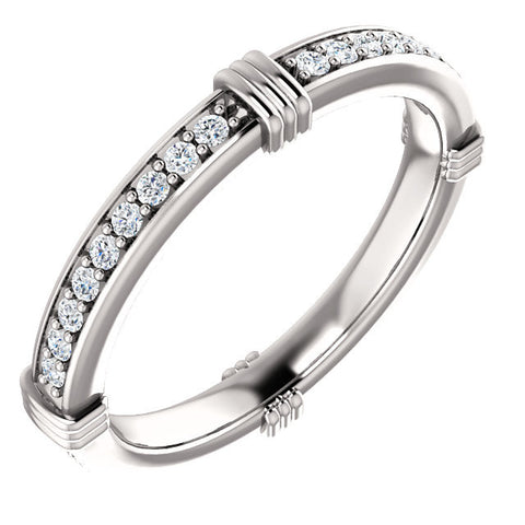 Cubic Zirconia Anniversary Ring, Style 03-94 (Customizable Round or Princess Eternity Band)