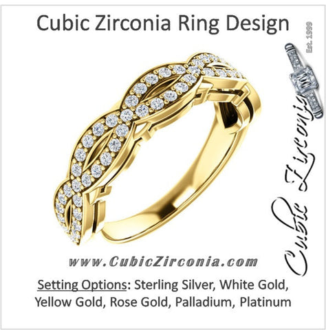 Cubic Zirconia Anniversary Ring Band, Style 04-00 (0.56 TCW Infinity Pave)