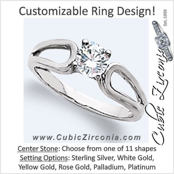 Cubic Zirconia Engagement Ring- The Carmen (Customizable Solitaire with Horseshoe-inspired Split Band)