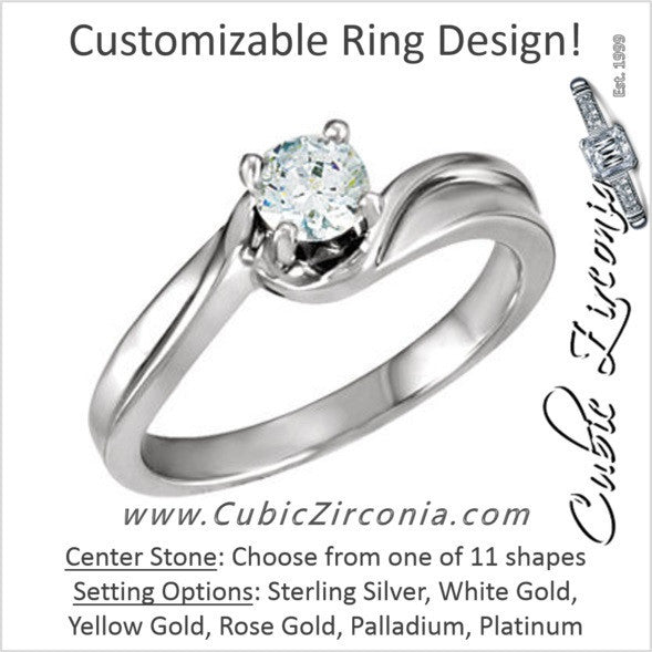 Cubic Zirconia Engagement Ring- The Lakeisha (Customizable Twisted Band Solitaire)