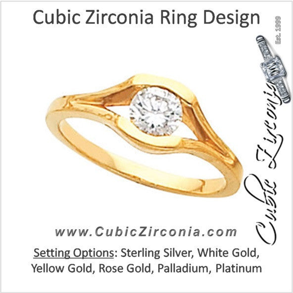 Cubic Zirconia Engagement Ring- The Jessie (0.15-1.50 Carat Round Bezel Solitaire with Split Band)