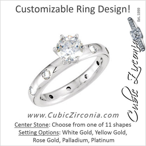 Cubic Zirconia Engagement Ring- The Jordan (Customizable Center stone with Gypsy Accented Eternity Band)