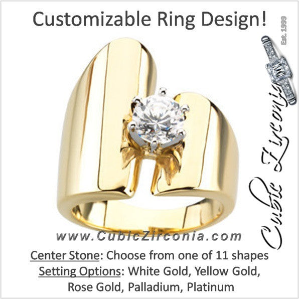 Wide Ultra Modern Asymmetrical Solitaire Cz Ring Cubic Zirconia Cz